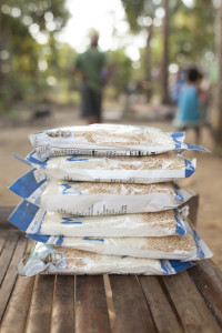 Photo: Rice packs that are donated to support ICM participants as they climb out of poverty and health challenges.